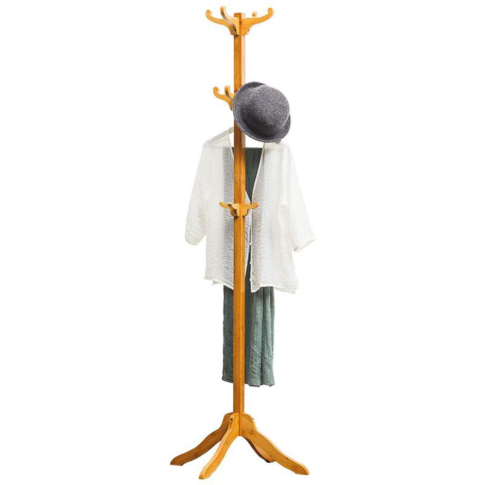 Xyanzi Coat Rack Coat Rack Wooden Coat Rack Free Standing Floor-Standing Hangers Simple Solid Wood Bedroom Hanger Rack Household Storage Rack