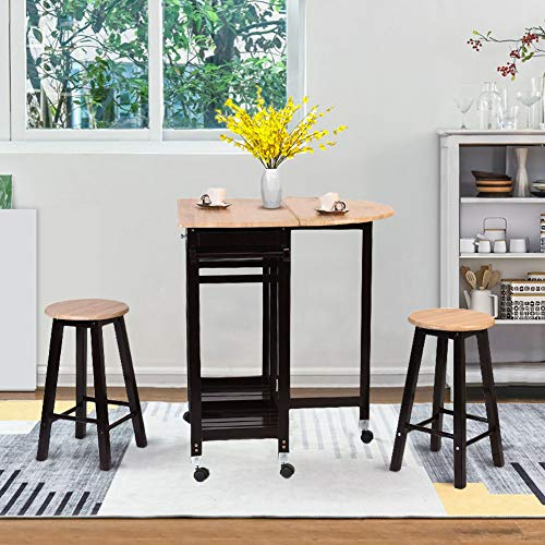 Dining Table Set, WATERJOY 3 Pcs Portable Wood Rolling Casters Kitchen Island Cart Rolling Trolley Foldable Bar Table Drop Leaf Dining Countertop Table with 2 Barstool Chairs,Storage Drawer - Kitchen Dining Islands