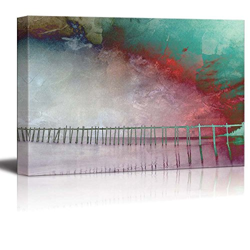wall26 - Watercolor Painting of a Pier by The Beach - Canvas Art Home Decor - 32x48 inches ()