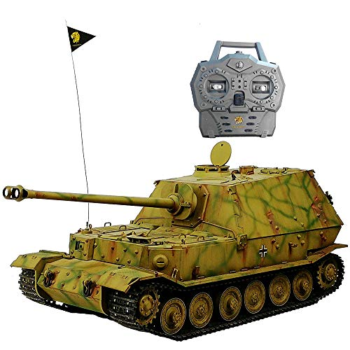 (HOOBEN RTR RC Tanks German Full Set 1/16 Elefant Jagdpanzer Ferdinand Radio Control Full Function(Ready to Run, Assembled &Camouflag Painted) with Metal Gearbox,Sprocket,Idler,Metal Suspension D6614F)