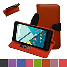 Blu Studio 6.0 HD Case,Mama Mouth [Stand View] Folio Flip Premium PU Leather [Wallet Case] With Built-in Media Stand ID Credit Card / Cash Slots and Inner Pocket Cover Case For Blu Studio 6.0 HD D650a, Orange