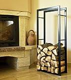 Porta legna da camino 100cm nero 80009 Cesto-legno Scaffale legna da camino Scaffale legno Scaffale
