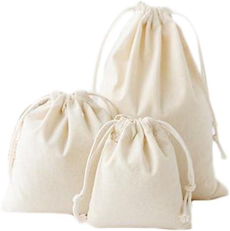 iTemer 3 tamaños bolsas de cordón de algodón color natural ...