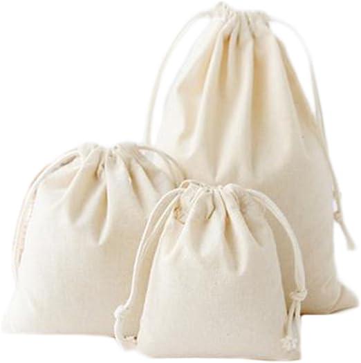 iTemer 3 tamaños bolsas de cordón de algodón color natural portátil mochila con cordón bolsa de colegio, bolsa de zapatos deportiva, bolsillo de gimnasio, 3 piezas (Beige): Amazon.es: Jardín