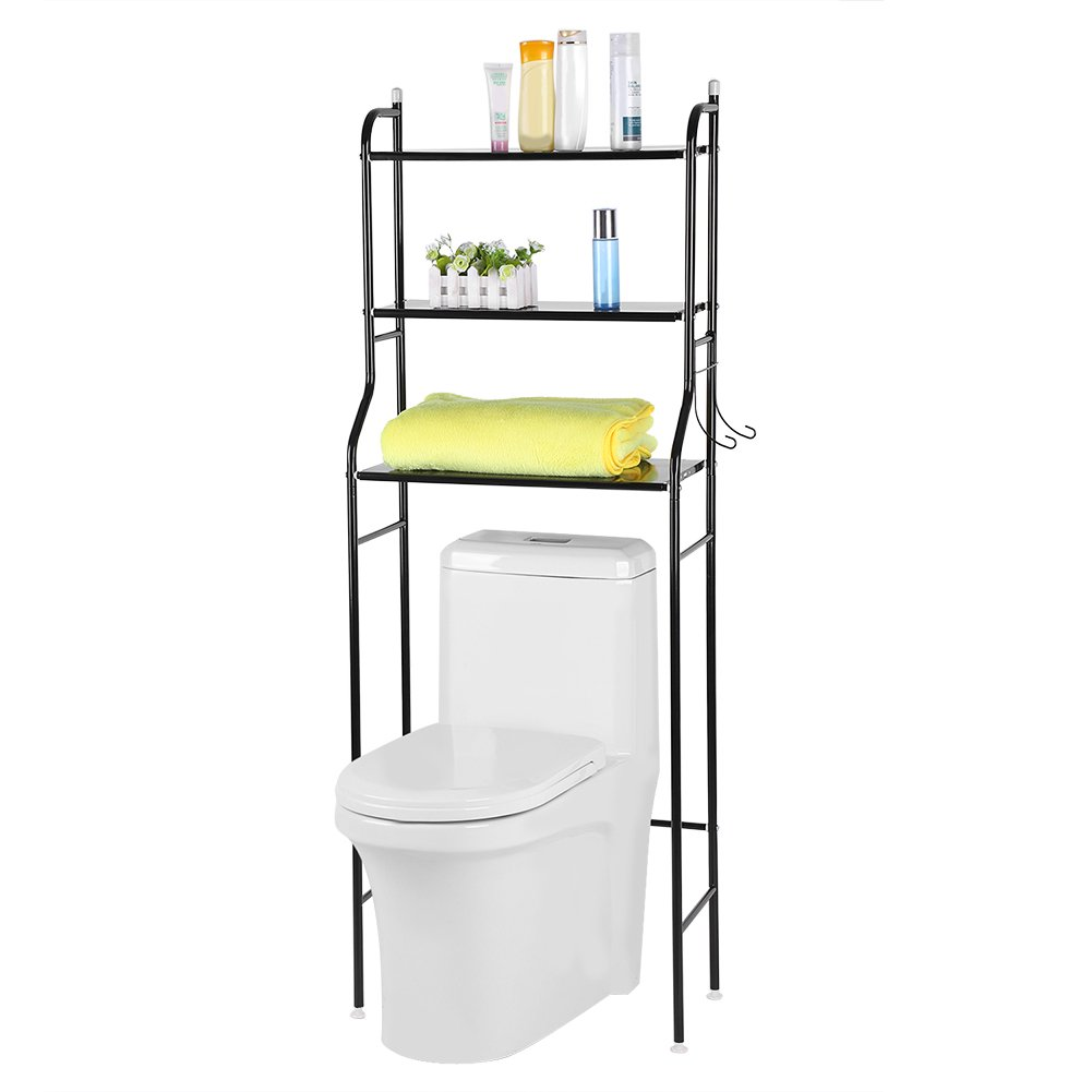 Ejoyous Over The Toilet Shelf 3 Tier Bathroom Free Standing Metal Frame Storage Rack Space Saver Organizer Waterproof and Rustproof with 2 Hooks, No Drill or Damage to Wall - Black by Ejoyous