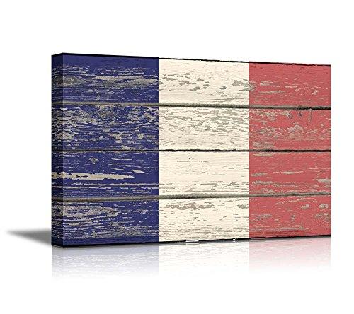 Flag of France on Vintage Wood Board Background Stretched