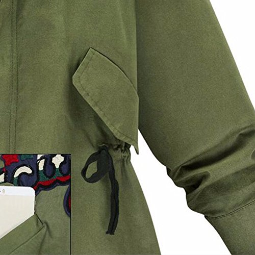 Manches Veste Longues Femmes Bomber Etosell Coat Outwear Slim Vert qE6tIPFw