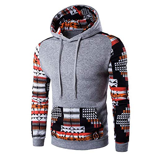GOVOW Geometric Printing Hoodie for Men - Autumn Winter Pocket Hooded Sweatshirt Tops Blouse(US:12/CN:XXXL,Gray) ()