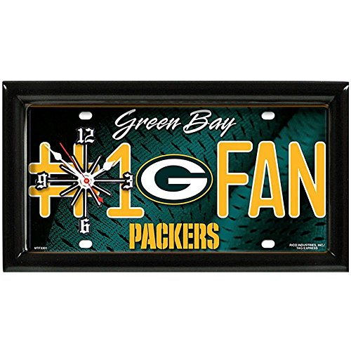 Green Bay Packers NFL Quartz Clock Number 1 Fan License Plate Shaped Room Decor (Clock Awesome Neon)
