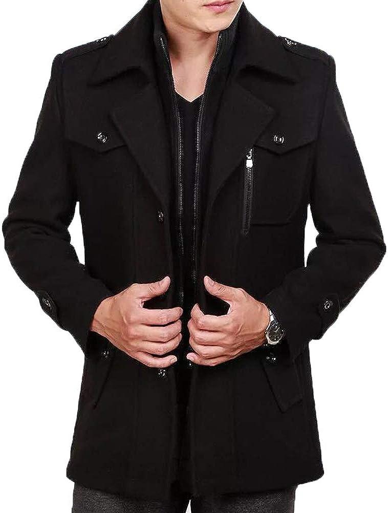 ROBO Mens Slim Fit Winter Warm Woolen Coat Business Jacket with Detachable Wool Scarf