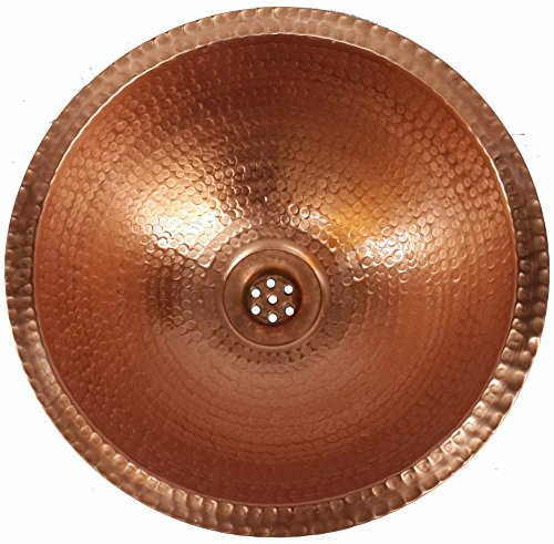 Egypt gift shops 12'' Hand Hammered Traditional Shiny Polished Toilet Bathroom Copper Vessel Vanity Sink Bowl Lavatory Home Decor Construction Renovation Remodel by Egypt gift shops