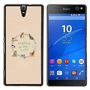 YiPhone /// Prima de resorte delgada de la cubierta del caso de Shell Armor - gatos les encanta amarilla texto patrón de los animales - Sony Xperia C5 Ultra