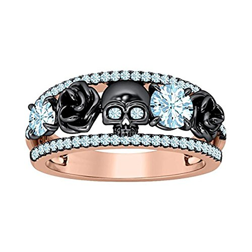 DreamJewels Belle Princess Black Rose Design Band Skull Ring 1.00 Ct Created Round Cut Aquamarine 14K Two-Tone Gold Finish 925 Sterling Silver