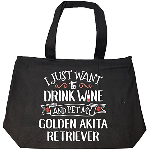lden Akita Retriever Puppy Dog Gift - Tote Bag With Zip ()