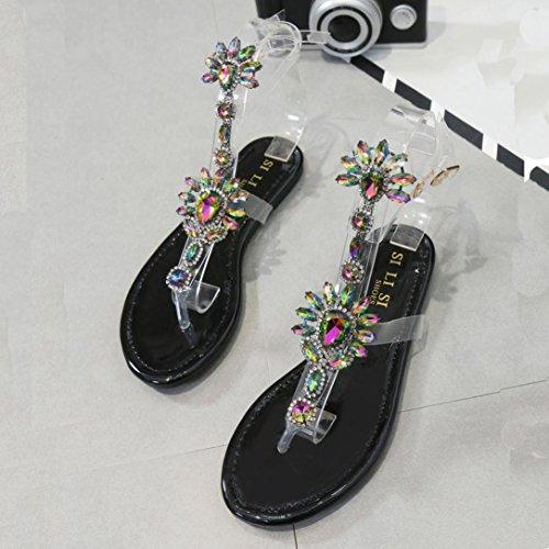 Xmansky Damen Böhmen Blume Perlen Flip Flops Clip-Zehensandalen Fischgrät Pantoffel Sommer Schuhe Freizeit Sandalen Schwarz