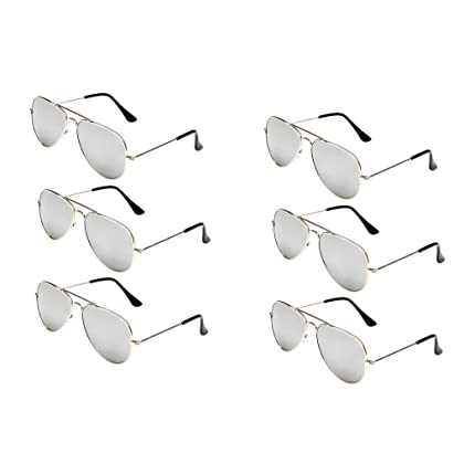 89e1617039 WODISON Classic Kids Aviator Sunglasses Bulk Reflective Metal Frame Children  Eyeglass 6 Pack ...