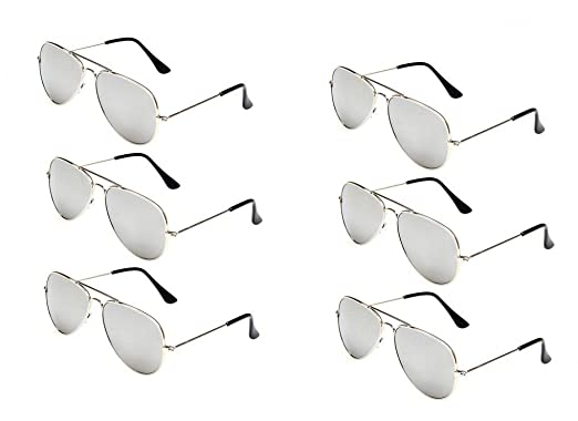 d4fc8dfc9a WODISON Classic Kids Aviator Sunglasses Bulk Reflective Metal Frame Children  Eyeglass 6 Pack  Amazon.in  Clothing   Accessories