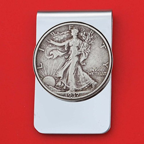 (US 1937 Walking Liberty Half Dollar 90% Silver Coin Stainless Steel Money Clip NEW - Silver Plated Coin Bezel)