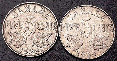 Unbranded 1922 & 1924 Canada 5 Cents Nickel Coins Great Condition