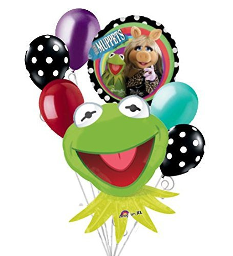 7 pc Muppets Kermit & Ms. Piggy Balloon Bouquet Party Decoration Happy Birthday by Jeckaroonie Balloons ()