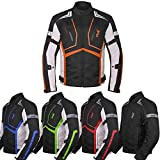 Motorcycle Jacket For Men Textile Motorbike Dualsport Enduro Motocross Racing Biker Riding CE Armored Waterproof All-Weather (Orange, XX-Large)