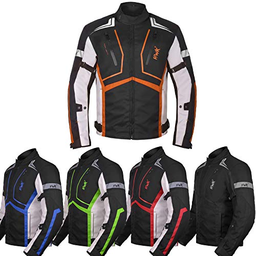 Motorcycle Jacket For Men Textile Motorbike Dualsport Enduro Motocross Racing Biker Riding CE Armored Waterproof All-Weather (Orange, XXX-Large)