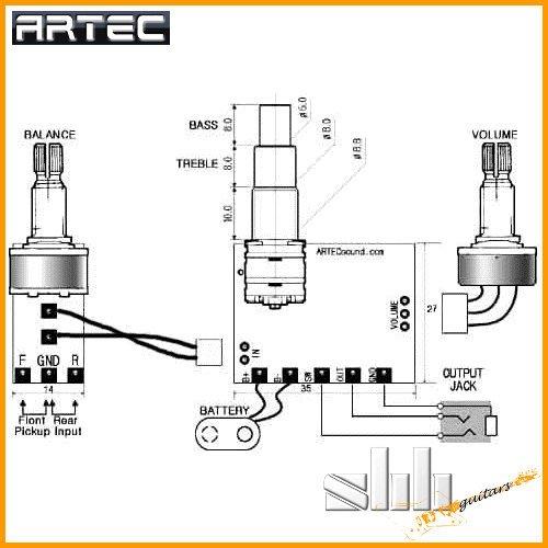 ARTEC SE2-A 2-Band Equalizer / Preamp für Gitarre, Bass, Piezo ...