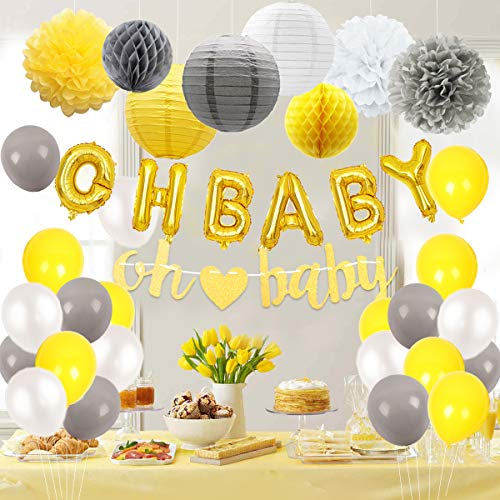 Baby Shower Decorations Neutral for Boy or Girl, Gender Neutral Unisex with Oh Baby Foil Balloons, Garland, Pom Poms, Paper Lanterns Yellow and Gray