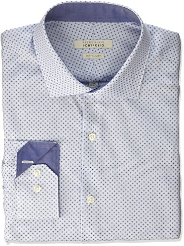 Perry Ellis Portfolio Mens Slim Fit Performance Graph Print Dress Shirt, Cornflower