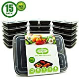 microwavable freezer plates - Food Storage Containers with Dividers - 3 Compartment Meal Prep Containers with Lids / Divided Bento Lunch Box / Portion Control / Microwave, Freezer, Dishwasher Safe / Reusable / Stackable (15 Pack)