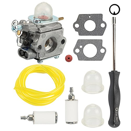 Anzac Carburetor W/Tool Fuel Line Filter for Troy-Bilt TB80EC TB32EC YM21CS TB21EC TB22EC TB2040XP TB22 2 Cycle String Trimmer Gas craftsman Weed Eater Whacker 27CC WT-973 MTD 753-06190 by Anzac