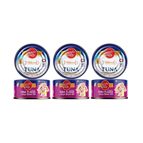 Golden Prize Tuna Sandwich Flakes in Soyabean Oil 185 GMS Each - Pack of 3 Units