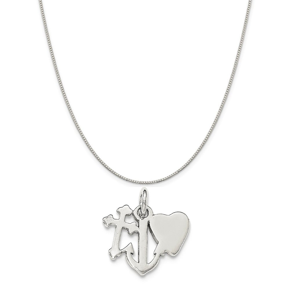 16-20 Mireval Sterling Silver Polished Cross Heart and Anchor Charm on a Sterling Silver Chain Necklace