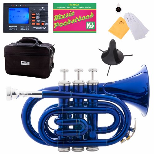 Mendini MPT-BL Lacquer Brass Bb Pocket Trumpet, Blue