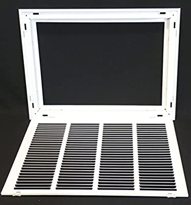 """20"""" X 16 Steel Return Air Filter Grille for 1"""" Filter - Removable Face/Door - HVAC DUCT COVER - Flat Stamped Face - White [Outer Dimensions: 22.5""""w X 18.5""""h]"""