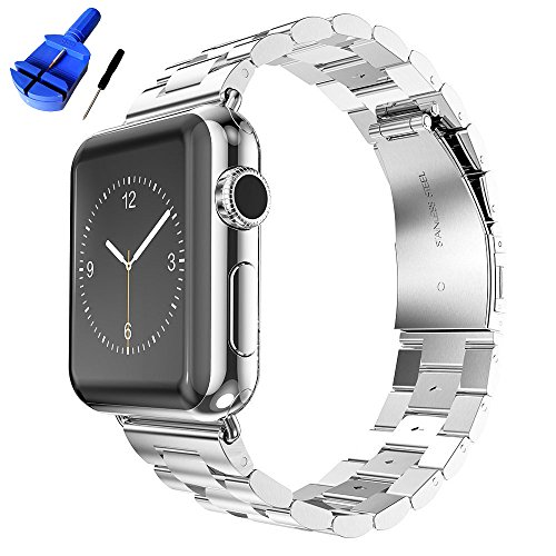 (HUANLONG Solid Stainless Steel Metal Replacement 3 Pointers Watchband Bracelet with Double Button Folding Clasp Compatible with Apple Watch Iwatch Series 1/2/3/4(Silver 38mm))