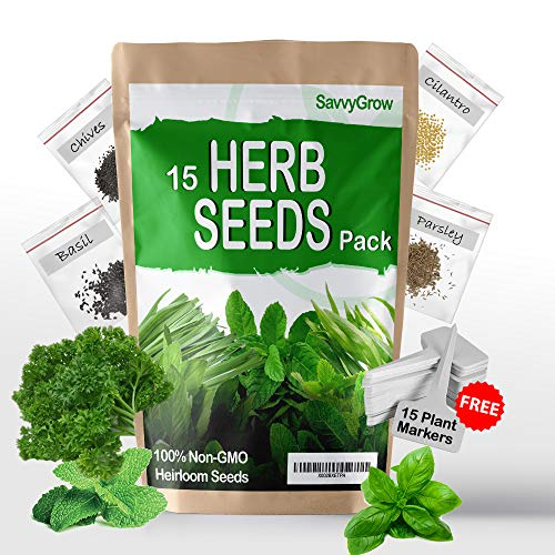 SavvyGrow 15 Variety Heirloom Herb Seeds - Perfect Christmas Gifts - 4000+ Survival Garden Seeds for Planting and 15 Free Plant Markers - 95% Germination Rate, Non-GMO & Source in USA