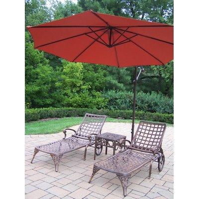 Oakland Living Elite Cast Aluminum 2 Chaise Lounges with 18-Inch Side Table and 10-Feet Burnt Orange Cantilever Umbrella