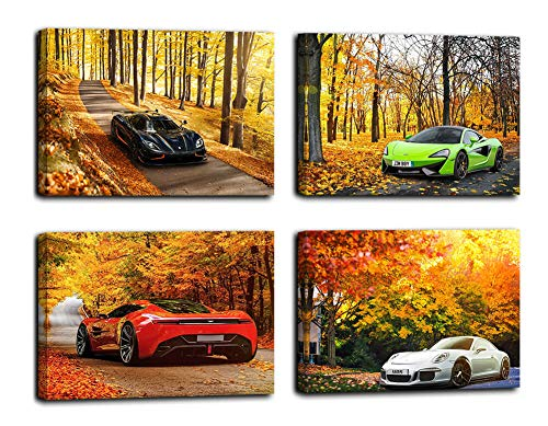 Maectpo Wall Art for Bedroom giclee Canvas Prints with Black Frame (12x16inchx4, Sport car Wall Decor)