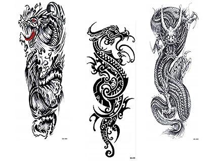 3 Sheet Dragón completa brazo tatuaje Tatuajes Negra Dragón ...
