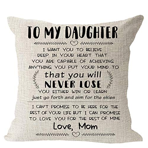 to My Daughter I Want You to Believe Deep in Your Heart Blessing Gift Lines Violin Music Note Cotton Linen Square Throw Waist Pillow Case Decorative Cushion Cover Pillowcase Sofa 18