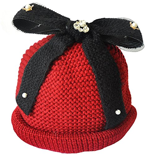 Krueis Beautiful Women Knit Hat with Removable Bowknot and (Old Fashioned Newsboy Cap)