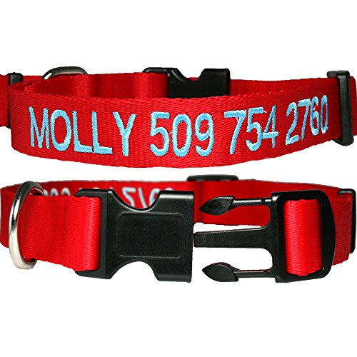 GoTags Personalized Dog Collar, Custom Embroidered with Pet Name and Phone Number in Blue, Black, Pink, Red and Orange, for Boy and Girl Dogs, 4 Adjustable Sizes, XSmall, Small, Medium, and Large