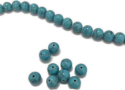 100 Vidrio Perlas 8 mm Turquesa Redonda Granos