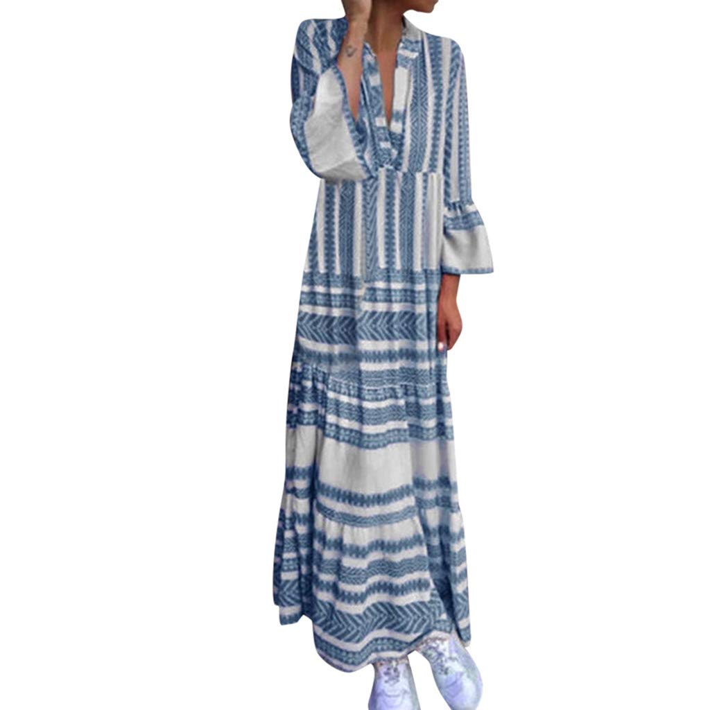 Women Boho V Neck Long Dress Summer Casual T-shirt Striped Flare Plain Ruffle Long Sleeve Maxi Holiday Beach Dresses (XX-Large, Blue)