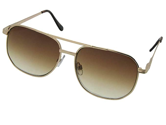60ca6dcec9ede Square Aviator Metal Frame Non Polarized Reader Sunglasses Style R21 (Gold  Frame-Brown Lenses