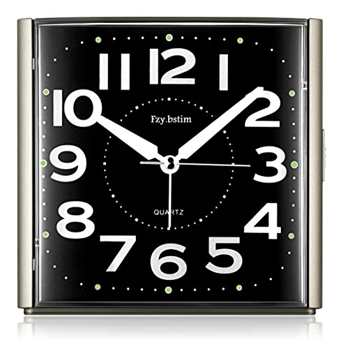 Fzy.bstim Alarm Clock for Bedrooms,Non Ticking Analog Alarm Clock with Night-Light,Snooze,Easy to Set Desk Clocks,Battery Operated,Black