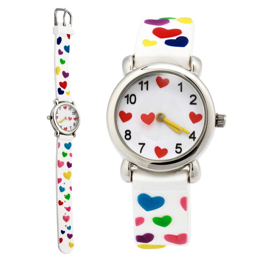 Kids Cartoon Watch, 3D Waterproof Children Wristwatches Cartoon Kids Wrist Watch With Toddler Children Great For Boy And Girl Ages 3-7 Time Teacher (3D Love White)
