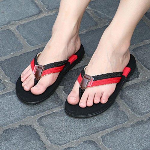 CHENGYANG Herren Damen Unisex Anti-Rutsch Flach Flip Flops Pantoletten Badeschuhe Zehentrenner Rot#Damen