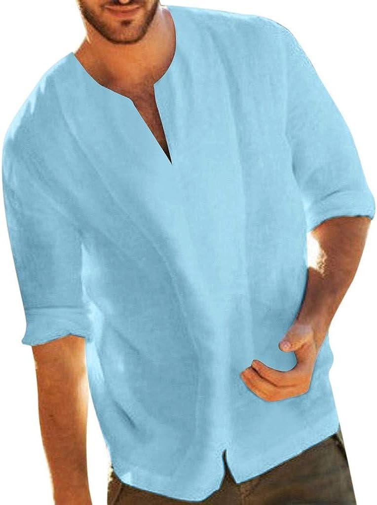 Mens Cotton Linen T Shirt Summer Casual 3/4 Sleeve V-Neck Baggy Beach Hippie Tees Tops